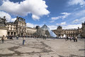 Louvre in paris outside pyramide view Stock Photography