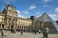 Louvre in paris outside pyramide view Stock Image