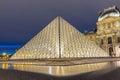 The Louvre pyramid closeup view, Paris, France.