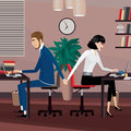 Love affair at work couple holding hands workplace Royalty Free Stock Image