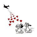 Love aid vectorel conceptual humorous cartoon about valentines day and Stock Image