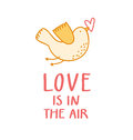 Love is in the air birdie with a heart valentine illustration Stock Photo