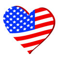 Love for america d heart symbol with the flag of vector illustration Royalty Free Stock Photography