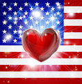 Love America flag heart background Royalty Free Stock Photo