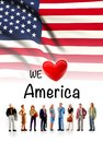 We love America, A group of people pose next to the American flag Royalty Free Stock Photo