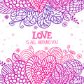 Love is around background beautiful decorative element lace hearts for design Stock Image