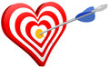 Love arrow heart target valentine hits bulls eye as or targeted marketing symbol Royalty Free Stock Photography