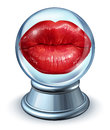 Love astrology concept with red woman lips in a crystal ball as a symbol of dating horoscope and predicting romantic future Stock Photos
