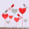 Love background with hearts and cute birds. Royalty Free Stock Photo