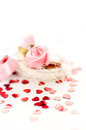 Love background rose ans red hearts Royalty Free Stock Images