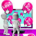 Love balloons show internet fondness and affectionate greetings balloon showing Royalty Free Stock Photo
