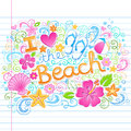 Love the beach tropical summer hawaiian vacation d i sketchy notebook doodles with hibiscus flower flip flops and sea shells hand Royalty Free Stock Photography