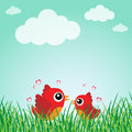 Love bird with hearts Royalty Free Stock Photos