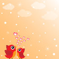 Love bird with hearts Royalty Free Stock Photo