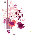 Love birds and cages abstract image with hearts flowers two Stock Image