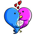 Love birds a couple of forming a heart shape Royalty Free Stock Photos