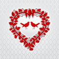 Love birds in floral heart Royalty Free Stock Photo