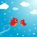 Love birds flying around in the sky Stock Image
