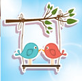 Love birds over sky background vector illustration Royalty Free Stock Image