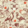 Love birds seamless pattern Royalty Free Stock Images