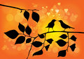 Love Birds on a Tree with Sunset Vector Royalty Free Stock Photo