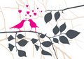 Love Birds on a Tree - Vector Royalty Free Stock Photo
