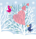 Love birds at winter tree Stock Image