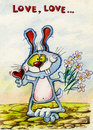Love blue Bunny brings a bouquet of flowers and heart