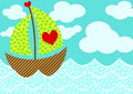 Love Boat Valentines Day Card Stock Photography