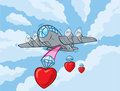 Love bomber cartoon of a world war Royalty Free Stock Image