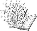 Love book sketched with flying doodles and hearts Royalty Free Stock Photo