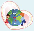 Love without borders cheerful composition of the children and earth Royalty Free Stock Images