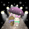Love bunny couple open an umbrella in the winter night and snow vector illustration Royalty Free Stock Photo