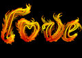 Love burns abstract background with fiery letters Stock Photography
