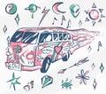 Love bus vector poster. Hippie car, mini van with different symbols. Retro colors. Psychedelic concept. Vector illustration for su