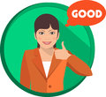 Love business woman showing a gesture of support is in a circle Royalty Free Stock Images