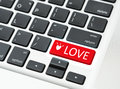 Love button keyboard love online concept red Royalty Free Stock Photos