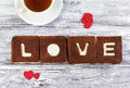 Love Cake. Chocolate banana cake with creamcheese frosting and w Royalty Free Stock Photo