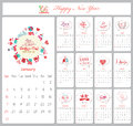 Love calendar for 2016 with greeting bubble