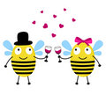 Love card with bees Stock Photo