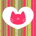 Love card with cute cat Royalty Free Stock Photo