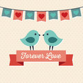 Love card design with two cute birds forever sweet hipster greeting for valentines day and ribbon banner Stock Images