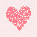 Love card made of red hearts on pink background vector illustration Stock Images