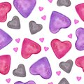 Love card with pink, red, green, grey hearts. Watercolor seamless pattern with hand drawn colorful heart isolated on white backgro