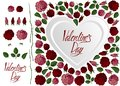Love card red and pink roses, heart and lettering