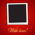 Love card template with blank photo frame on the red background Stock Photography