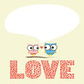 Love card two birds in Stock Photography