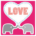 Love card two elephants in for everyone Royalty Free Stock Photos