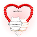 With love card for valentines day round cat Royalty Free Stock Images