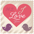 Love card vector valentine with birds and heart Royalty Free Stock Image